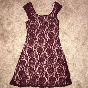 Burgandy & Lace Dress